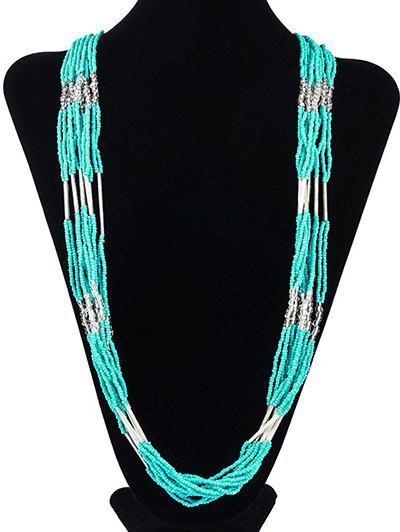 Bohemian Style Multilayered Longline Beads Alloy Necklace - MINT GREEN