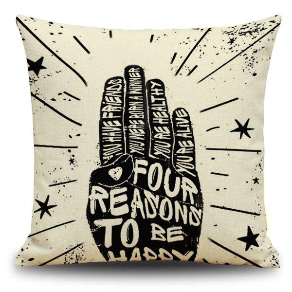 Square Letter Gesture Linen Throw Cover Pillow Case - BEIGE