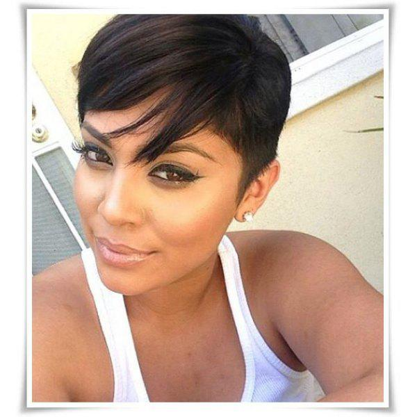 Manly Women's Boy Cut Black Short Capless Straight Side Bang Synthetic Wig