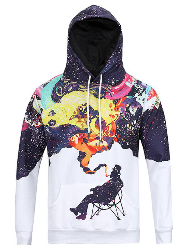 Multicolor Splatter Print Kangaroo Pocket Men's Long Sleeve Hoodie