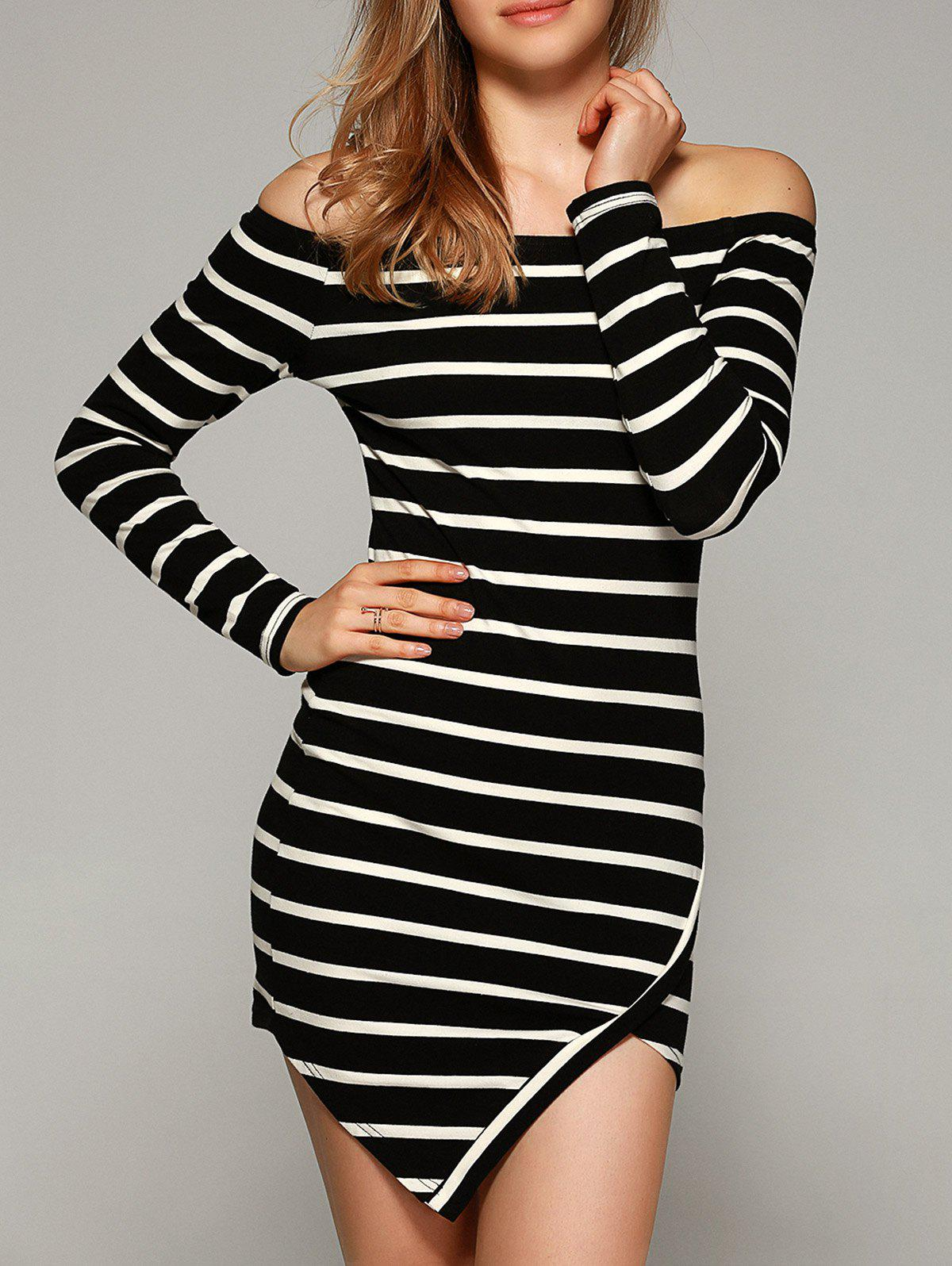 Chic Off-The-Shoulder Striped Bodycon Dress - STRIPE XL