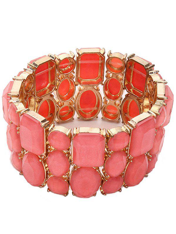 Geometric Resin Stretch Faux Gem Bracelet - ORANGEPINK