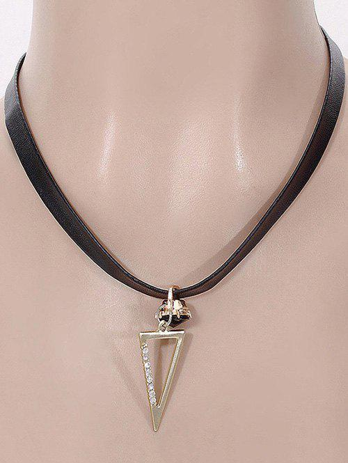 Rhinestone Hollow Out Triangle Pendant Necklace - BLACK