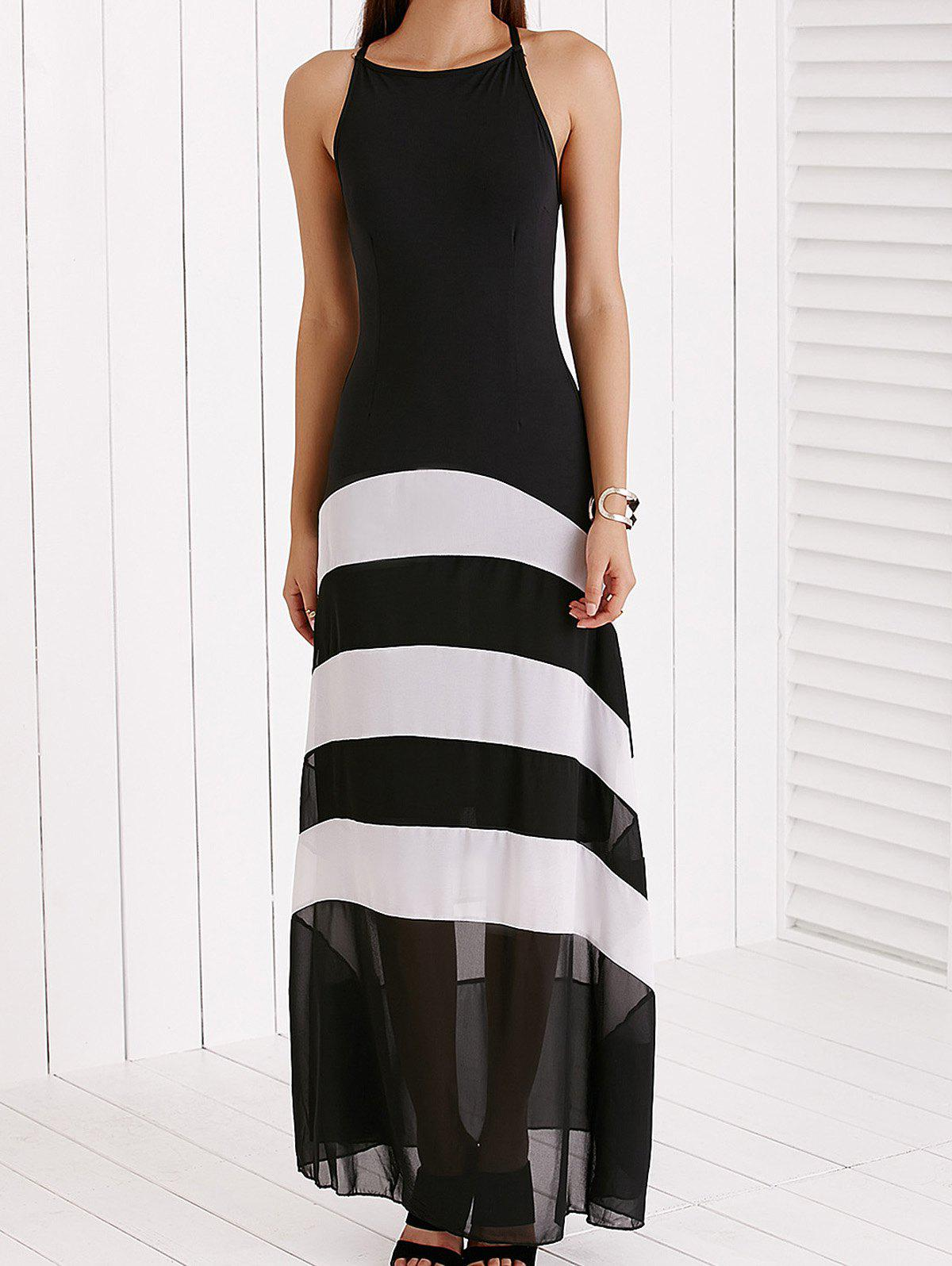 Spaghetti Strap Color Block Maxi Dress For Women