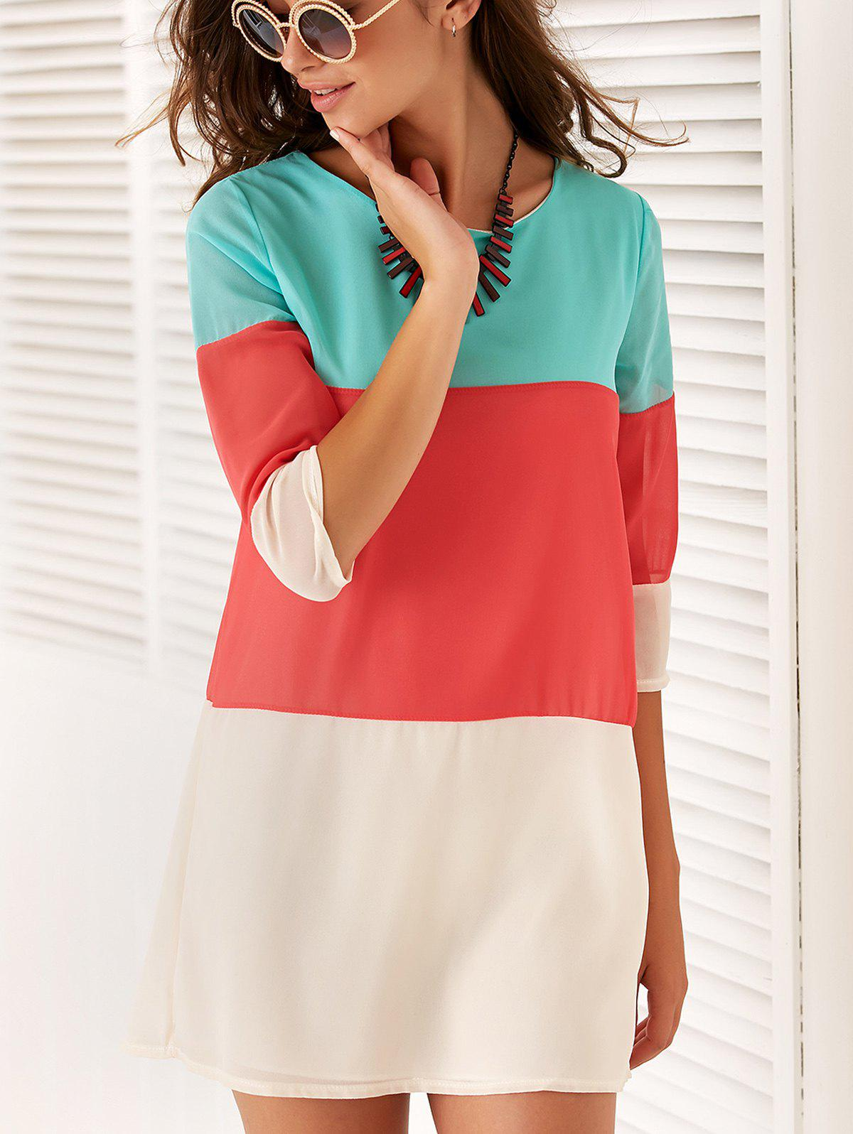 Casual 3/4 Sleeve Color Block Women's Dress - RED S