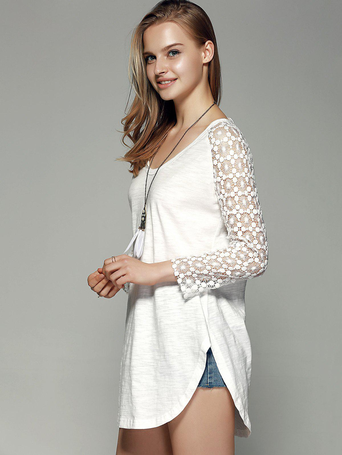 Sweet Lace Sleeve Comfy Blouse - WHITE XL