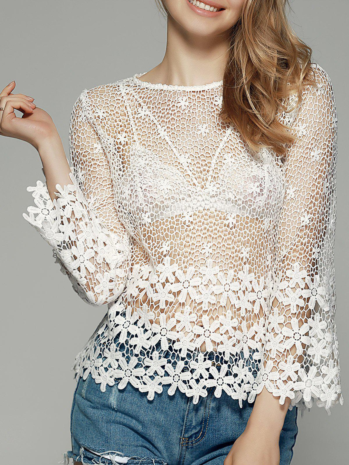 Sweet See-Through Crochet Blouse - WHITE XL