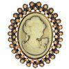 Embossed Figure Rhinestone Oval Brooch - GOLDEN
