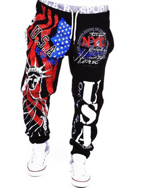 Beam Feet American Flag Statue of Liberty Letters Print Hit Color Lace-Up Men's Loose Fit Sweatpants - BLACK L