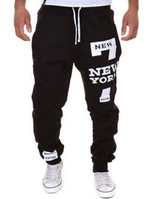 Stylish Lace-Up Slimming Letter Number Print Beam Feet Polyester Sweatpants For Men - BLACK XL