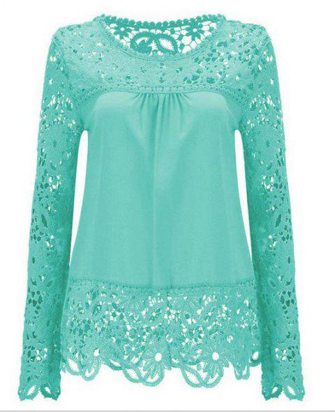 Solid Color Lace Spliced Hollow Out Blouse - LIGHT BLUE M