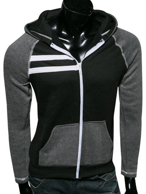 Color Splicing Zip Up Raglan Sleeve Hoodie - BLACK 2XL