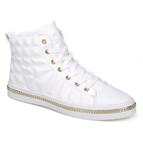 High Top Chains Sneakers - WHITE 44