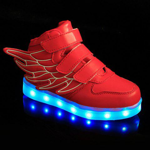 Fashionable Lights Up Led Luminous and Wing Design Boy's Casual Shoes - RED 32