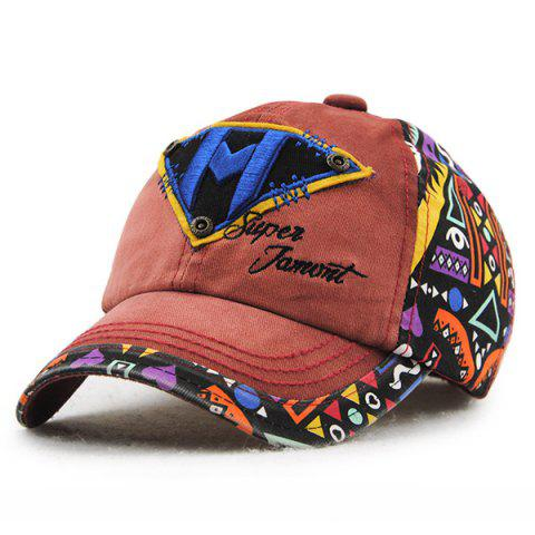 Stylish Letter M and Inverted Triangle Embroidery Doodle Pattern Kids' Baseball Hat - BROWN