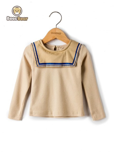 Simple Style Sailor Collar Long Sleeve T-Shirt - YELLOW CHILD-6