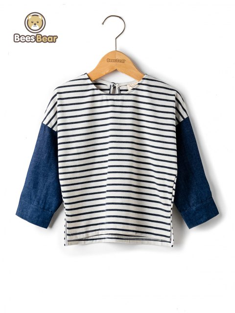 Stylish Color Block Striped T-Shirt - DEEP BLUE CHILD-2