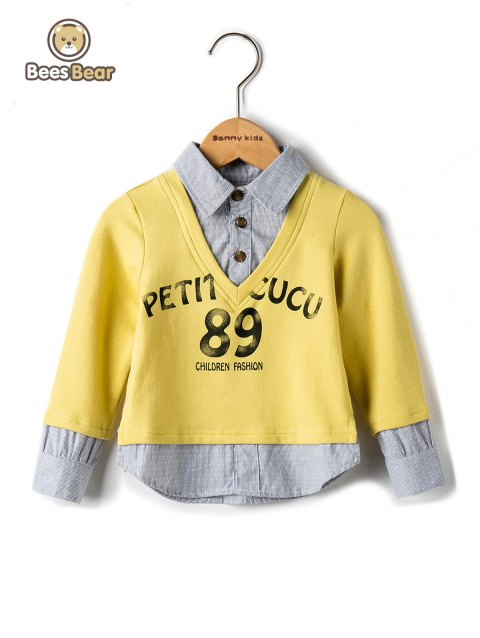 Stylish Spliced Letter Print Striped Shirt - YELLOW CHILD-6