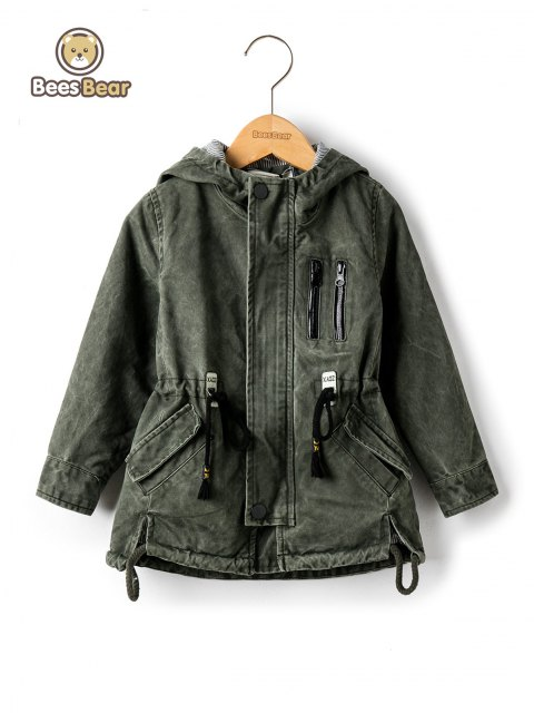 Stylish Hooded Pocket Design Drawstring Jacket - ARMY GREEN CHILD-6
