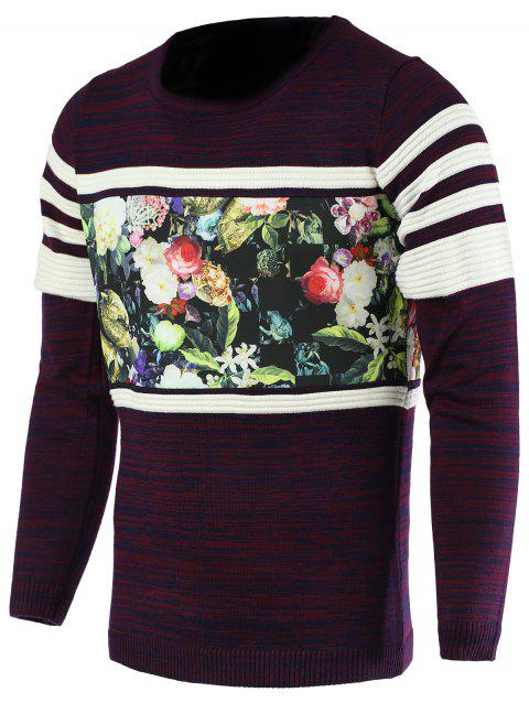 Round Neck Color Block Splicing Fleur Imprimer Long Sleeve Men 's Pull - Pourpre M