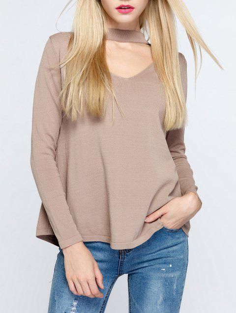 Simple Women's Hollow Out Long Sleeves T-Shirt - LIGHT CAMEL ONE SIZE