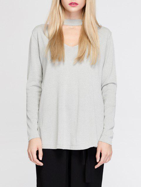 Simple Women's Hollow Out Long Sleeves T-Shirt - LIGHT GRAY ONE SIZE