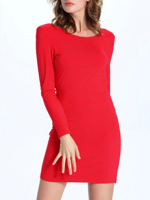 Draped Back Long Sleeve Bodycon Dress - RED M