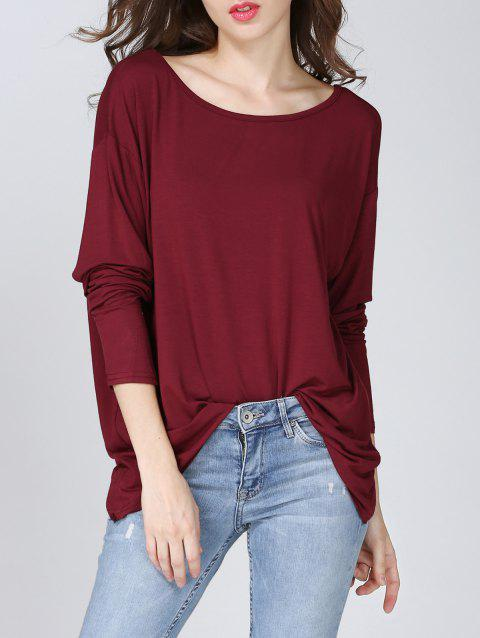 Alluring Twist-Back Solid Color Women's T-Shirt - WINE RED ONE SIZE