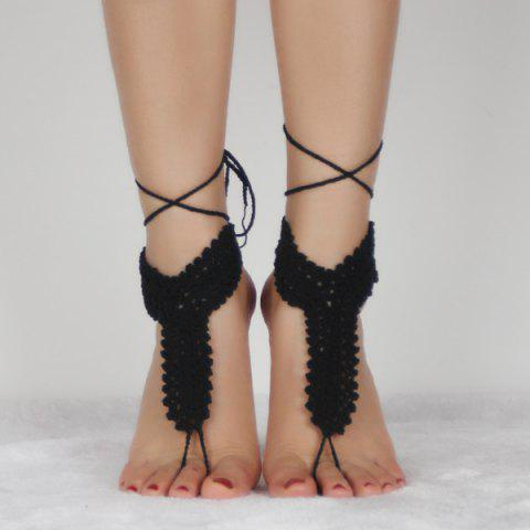 Crochet Rope Hollow Out Anklets - BLACK