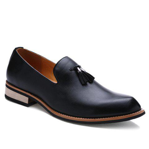 Retro Height Increasing and Tassels Design Men's Formal Shoes - BLACK 42