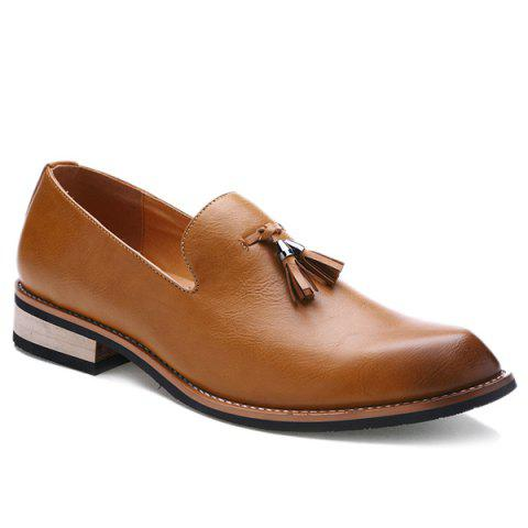 Retro Height Increasing and Tassels Design Men's Formal Shoes - BROWN 42