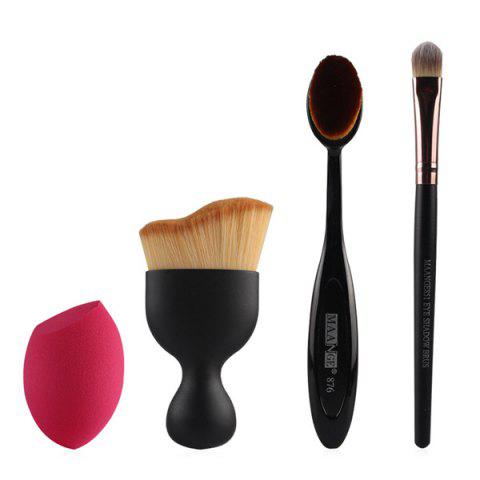 Cosmetic 4 Pcs/Set Wave Shape Blush Brush + Foundation Brush + Eyeshadow Brush + Bevel Cut Makeup Sponge - BLACK