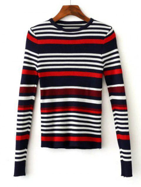 Knitted Hit Color Striped Sweater - BLACK/WHITE/RED L