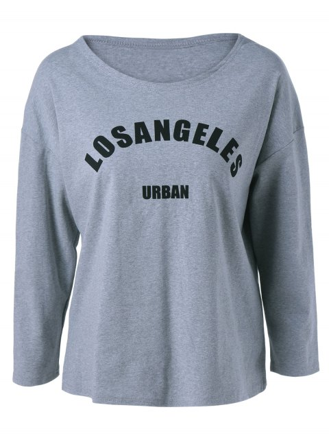 Long Sleeve Letter Printed T-Shirt - GRAY ONE SIZE