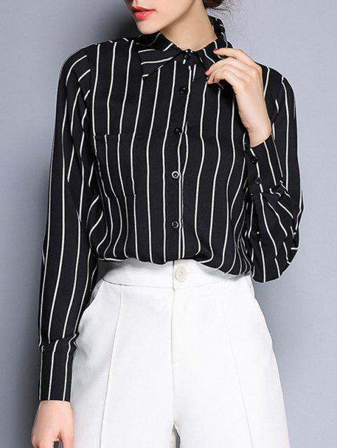 Shirt Collar Long Sleeve Striped Button Design Shirt - BLACK 2XL