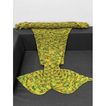 High Quality Yarn Knitted Hollow Out Design Warmth Mermaid Tail Blanket - YELLOW