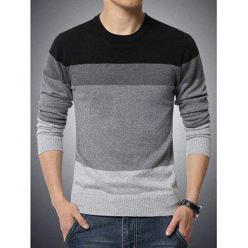 Color Block Splicing Round Neck Long Sleeve Men's Sweater
