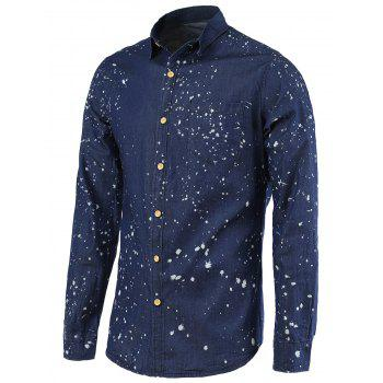 Turn-Down Collar Long Sleeve Splash-Ink Men's Denim Shirt