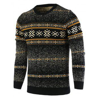 Round Neck Snowflake Pattern Long Sleeve Men's Sweater