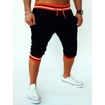 Stripe Rib Splicing Design Lace-Up Beam Feet Men's Cropped Pants