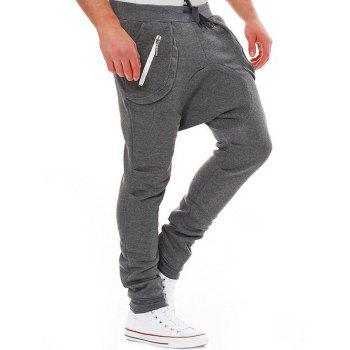 Modish Lace-Up Slimming Pocket Zipper Design Narrow Feet Polyester Low-Crotch Pants For Men