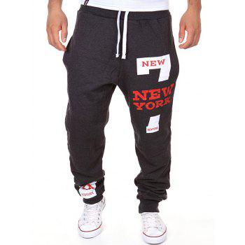 Stylish Lace-Up Slimming Letter Number Print Beam Feet Polyester Sweatpants For Men