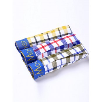 Cherlamode (Three Color) 3PCS Tartan Pattern Men's Boxer Briefs