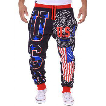 Star Beam Feet Lace-Up American Flag Sweatpants