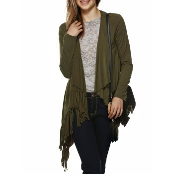 Chic Drape Collar Fringed Cardigan