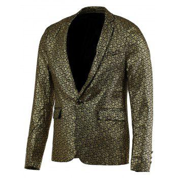Floral Hot Stamping Printing Lapel Long Sleeve Men's Blazer
