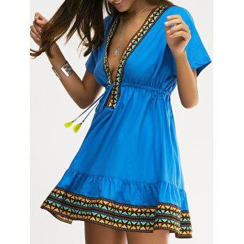 Ethnic Style Women's Slimming Plunging Neck Low-Cut Dress