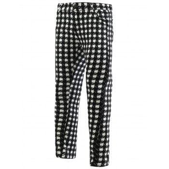 Plaid Zipper Fly Skinny Men's Tapered Pants