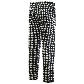 Pantalon fuselé Plaid Zipper Fly Skinny Men  's - Noir 32