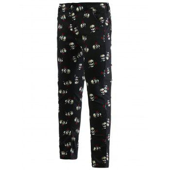 Rose Skull Print Zipper Fly Skinny Men's Tapered Pants